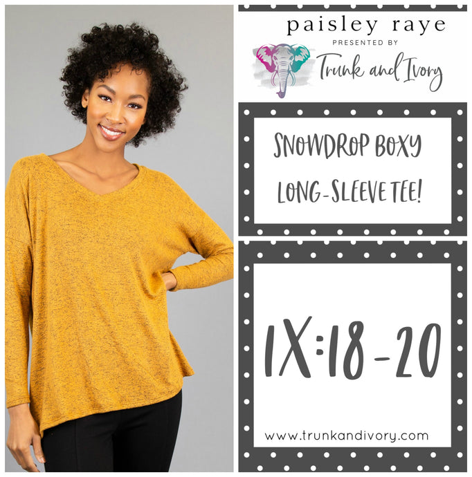 Paisley Raye Snowdrop Long-sleeve mustard yellow tee 1X Shop this and more at www.trunkandivory.com