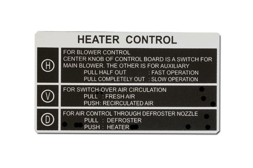 Decal - Heater Control FJ40, FJ45 1963-1967