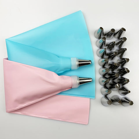 26 PCS/Set  Silicone Pastry Bag Tips, Reusable Pastry Bags +24 Nozzle Set Cake Decorating Tools