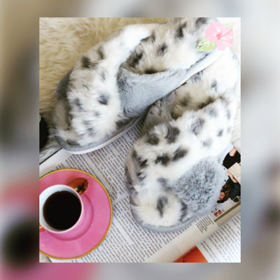 Faux Leopard Slippers