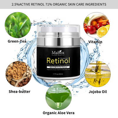 Mabox Retinol Moisturizer Cream for Face and Eye Area 1.7 Oz - With Retinol, Hyaluronic Acid, vitamin e and Green Tea. Night and Day Moisturizing Cream