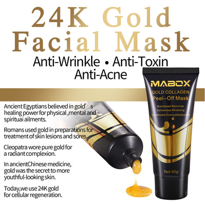 Mabox 24K Gold Facial Mask with Anti Aging and Wrinkle Formula Collagen Peel-Off Mask Brightens & Firms skin while helping remove and prevent blackheads and discoloration