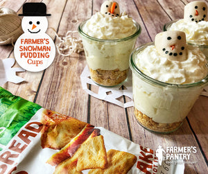 Farmer's Snowman Pudding Cups