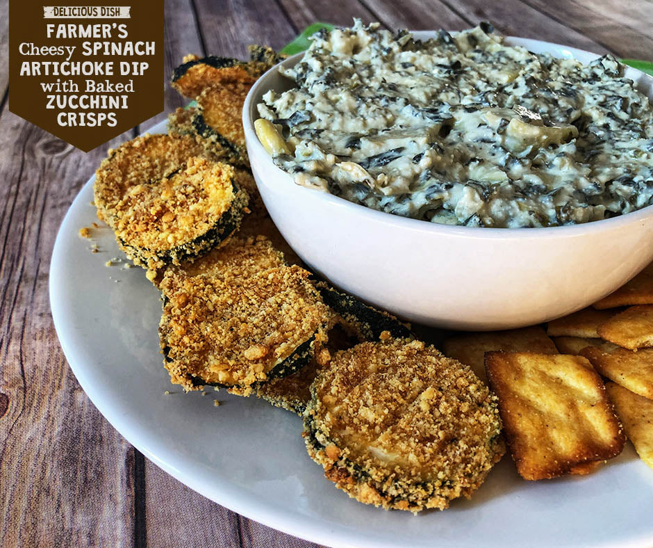Farmer's Cheesy Spinach Artichoke Dip With Baked Zucchini Crisps