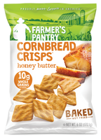 Farmer's Pantry Honey Butter Cornbread Crisps. Hearty snacks for hardworking Americans.