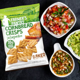 Farmer's Pantry Jalapeno Cornbread Crisps with guacamole and salsa