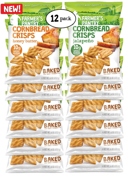 Honey Butter/ Jalapeno Cornbread Crisps Variety Pack, 6 oz (12 Pack)