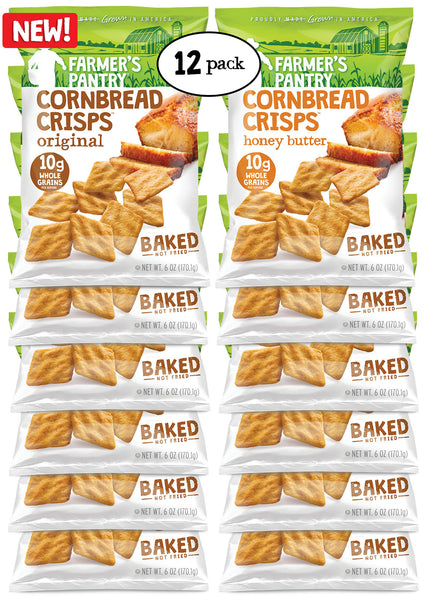 Original/Honey Butter Cornbread Crisps Variety Pack, 6 oz (12 Pack)