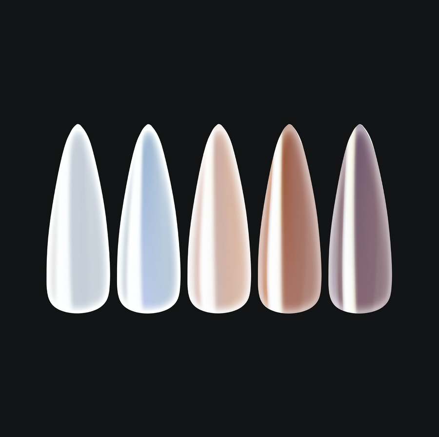 Chrome Gel-X Tips - Pearlescent - Sculpted Stiletto Long