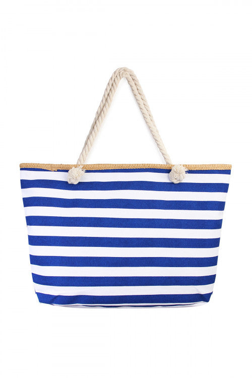 White and Blue Stripped Beach Bag