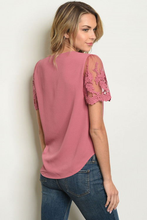 Pinkish Lace Sleeve Blouse