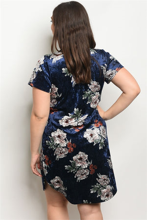 Navy Blue Floral Velvet Dress