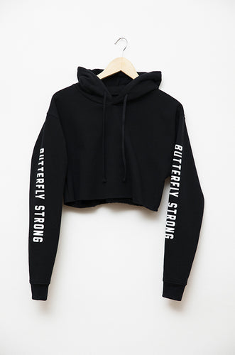 Butterfly Strong Cropped Hoodie - Black