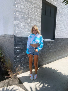 Malibu Dana Tie Dye Hoodie - Blue and White