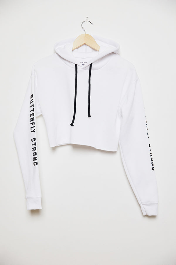 Butterfly Strong Cropped Hoodie - White