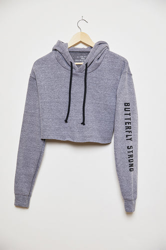 Butterfly Strong Cropped Hoodie - Gray