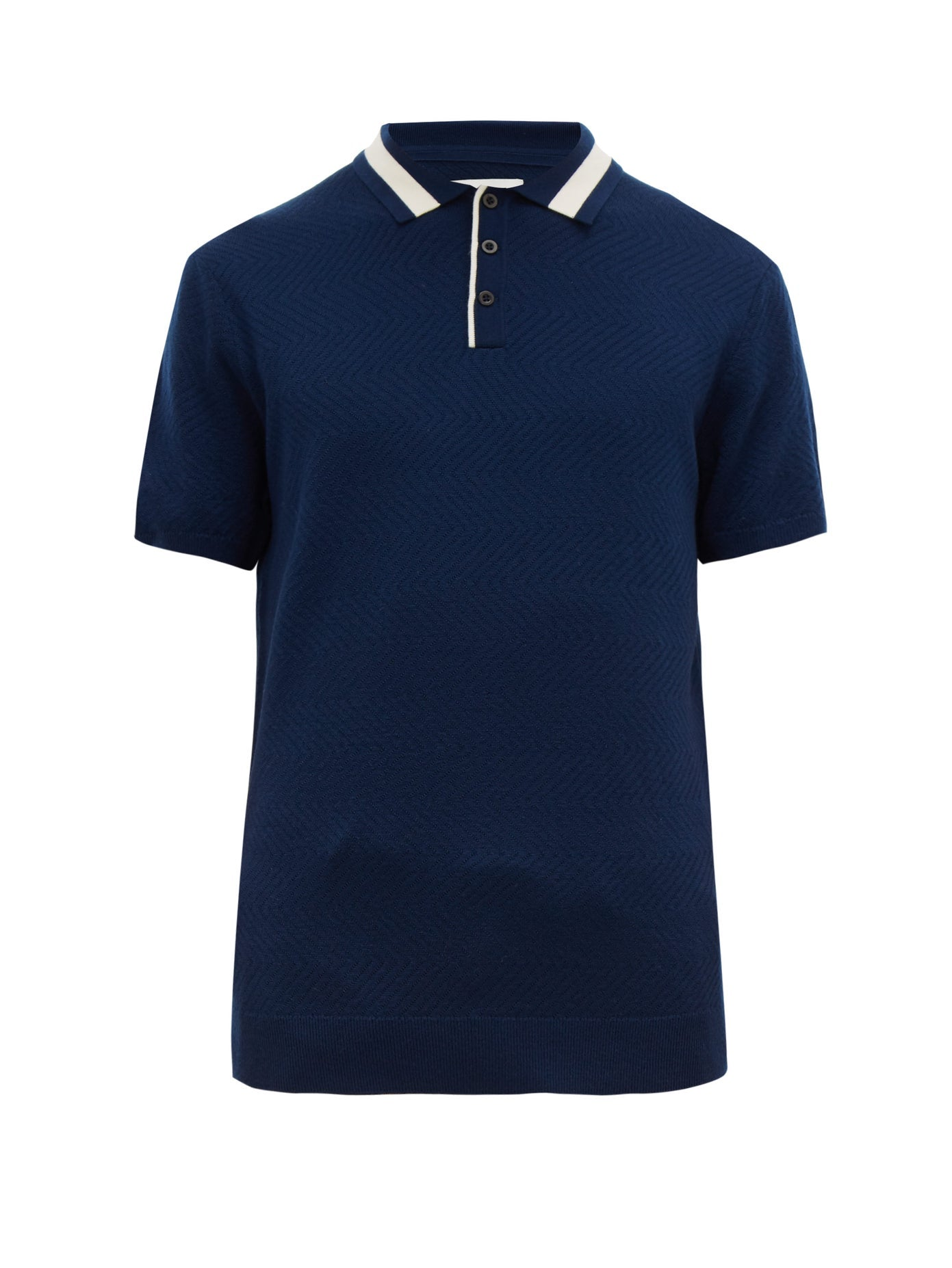 Navy Textured Polo - King & Tuckfield