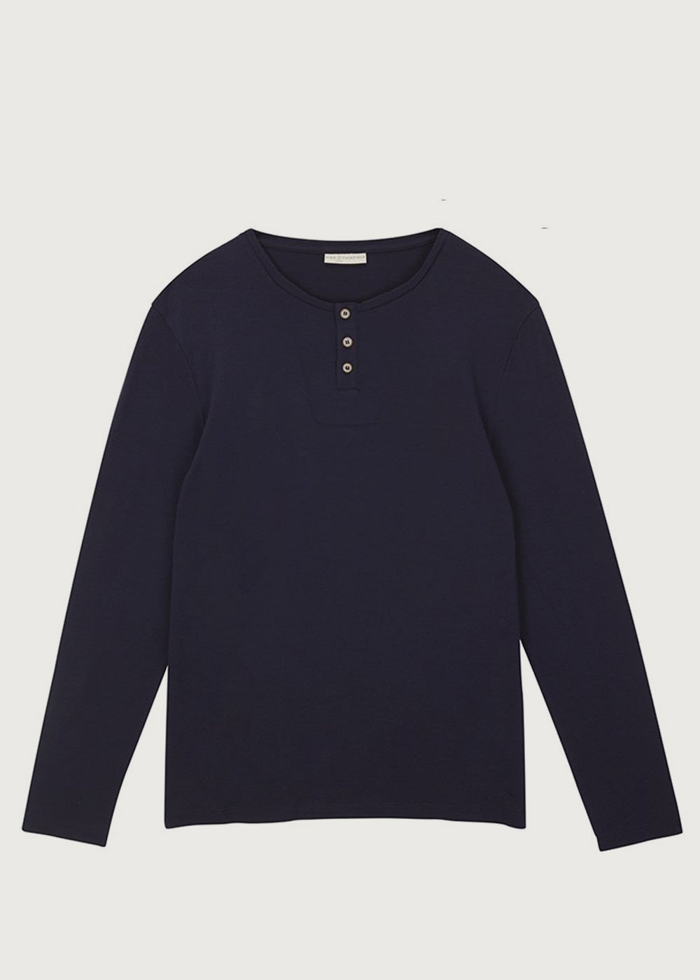 Merino Navy Long Sleeve Grandad T-Shirt - King & Tuckfield