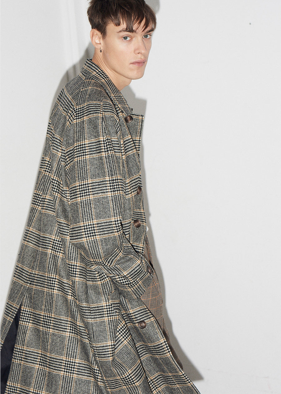 Raglan Wool Check Coat - King & Tuckfield