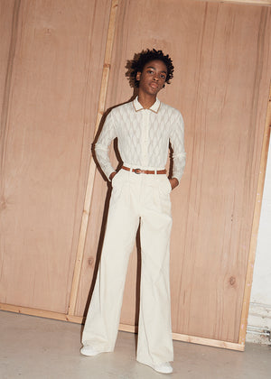 Voluminous Tie Belted Cord Trousers - King & Tuckfield