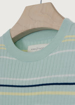 Mint Sorbet Stripe Knitted T-shirt - King & Tuckfield