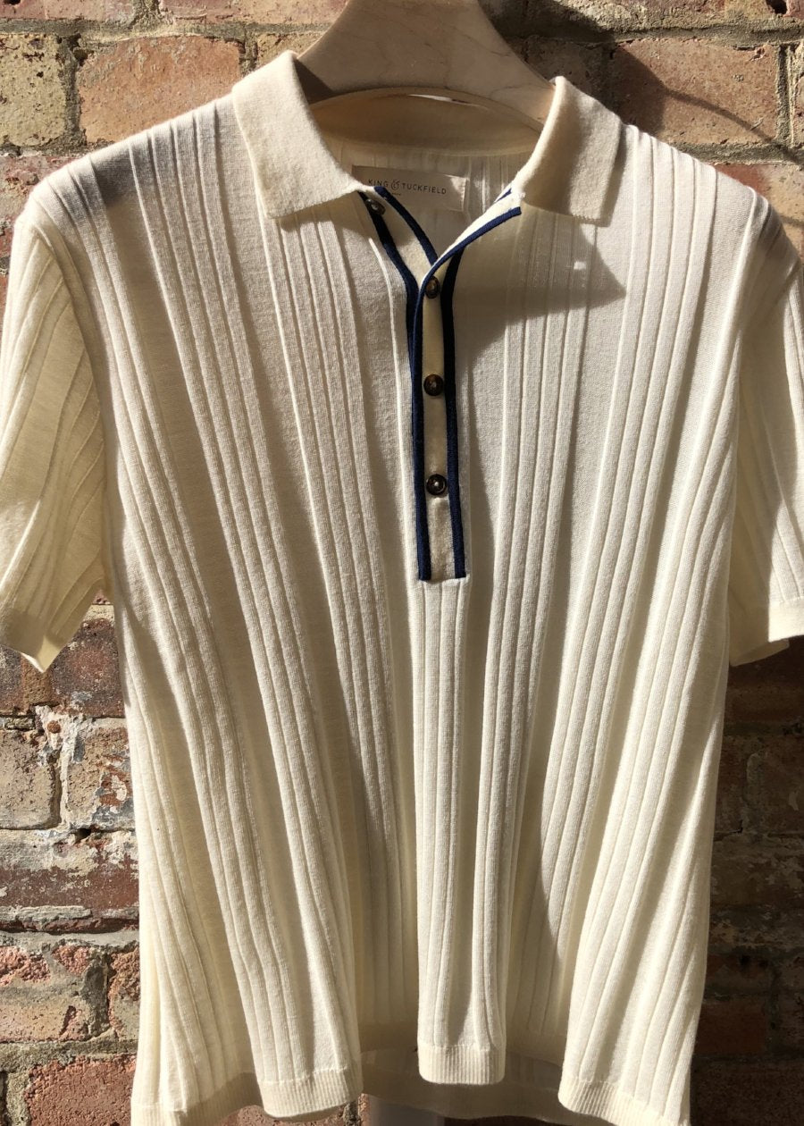 Hand Me Down - Merino Vanilla Ice Textured Polo - King & Tuckfield