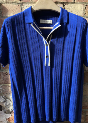 Hand Me Down - Merino Surf Blue Textured Polo - King & Tuckfield