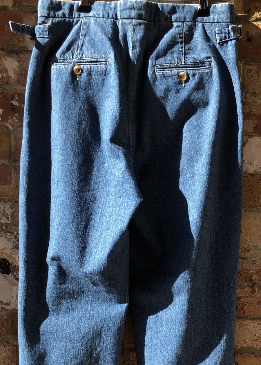 Hand Me Down - Light Indigo Shade Pleat Trousers - King & Tuckfield