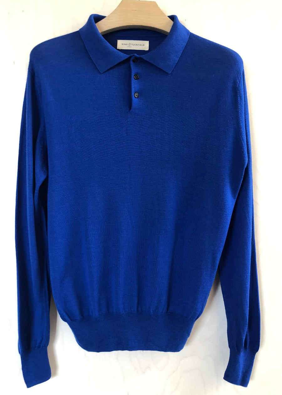 Hand Me Down - Surf Blue Long Sleeve Merino Polo - King & Tuckfield