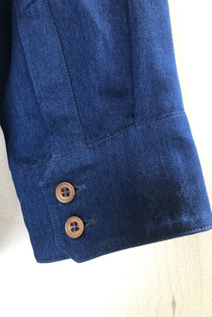 Hand Me Down - Collarless Tencel Indigo shirt - King & Tuckfield