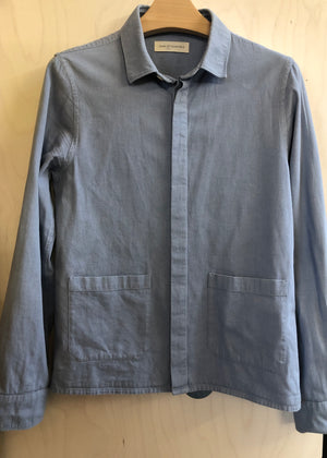 Hand Me Down - Pale Blue Cotton Pocket Over Shirt