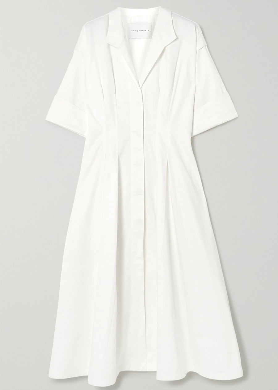 Pleat Shirt Dress with Structured Sleeves