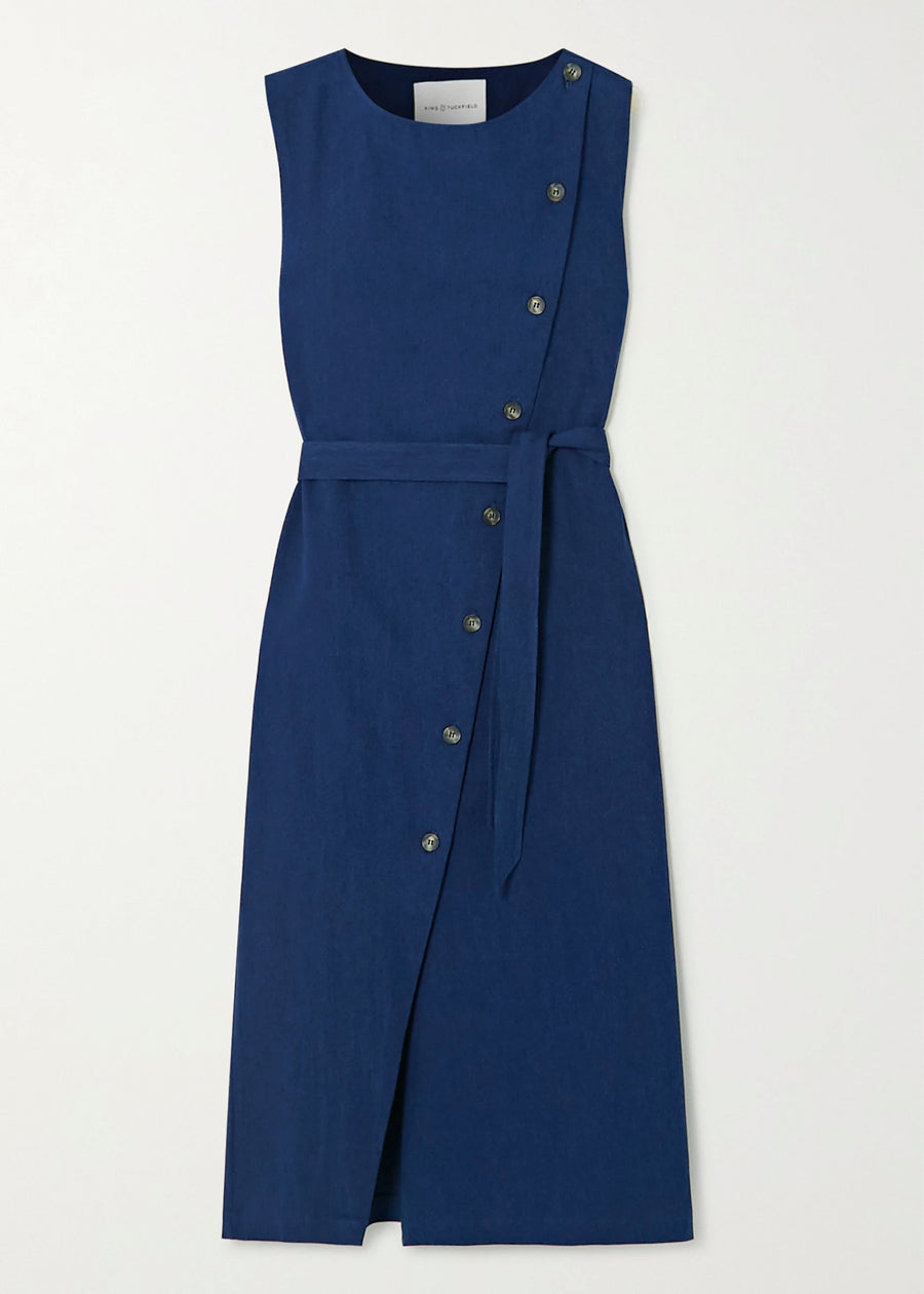 Bright Indigo Wrap Front Denim Dress
