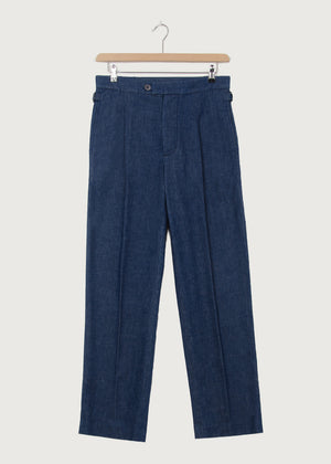 Denim Indigo Dry Pleat Trouser KTXRB - King & Tuckfield