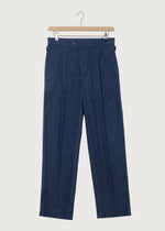 Denim Indigo Dry Pleat Trouser - King & Tuckfield