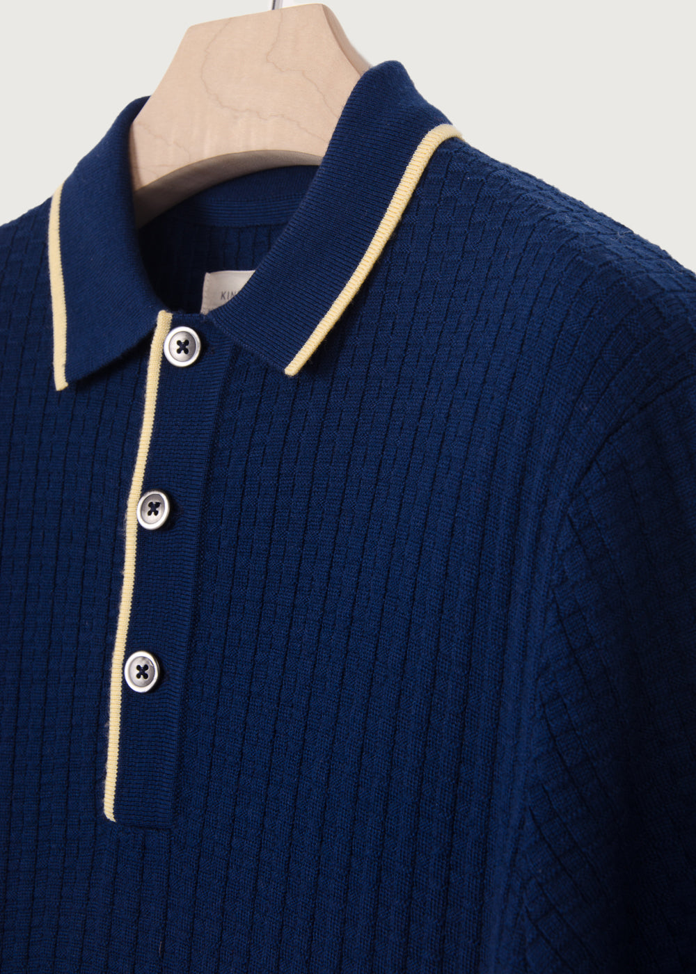 50's Inspired Navy Textured Polo - King & Tuckfield