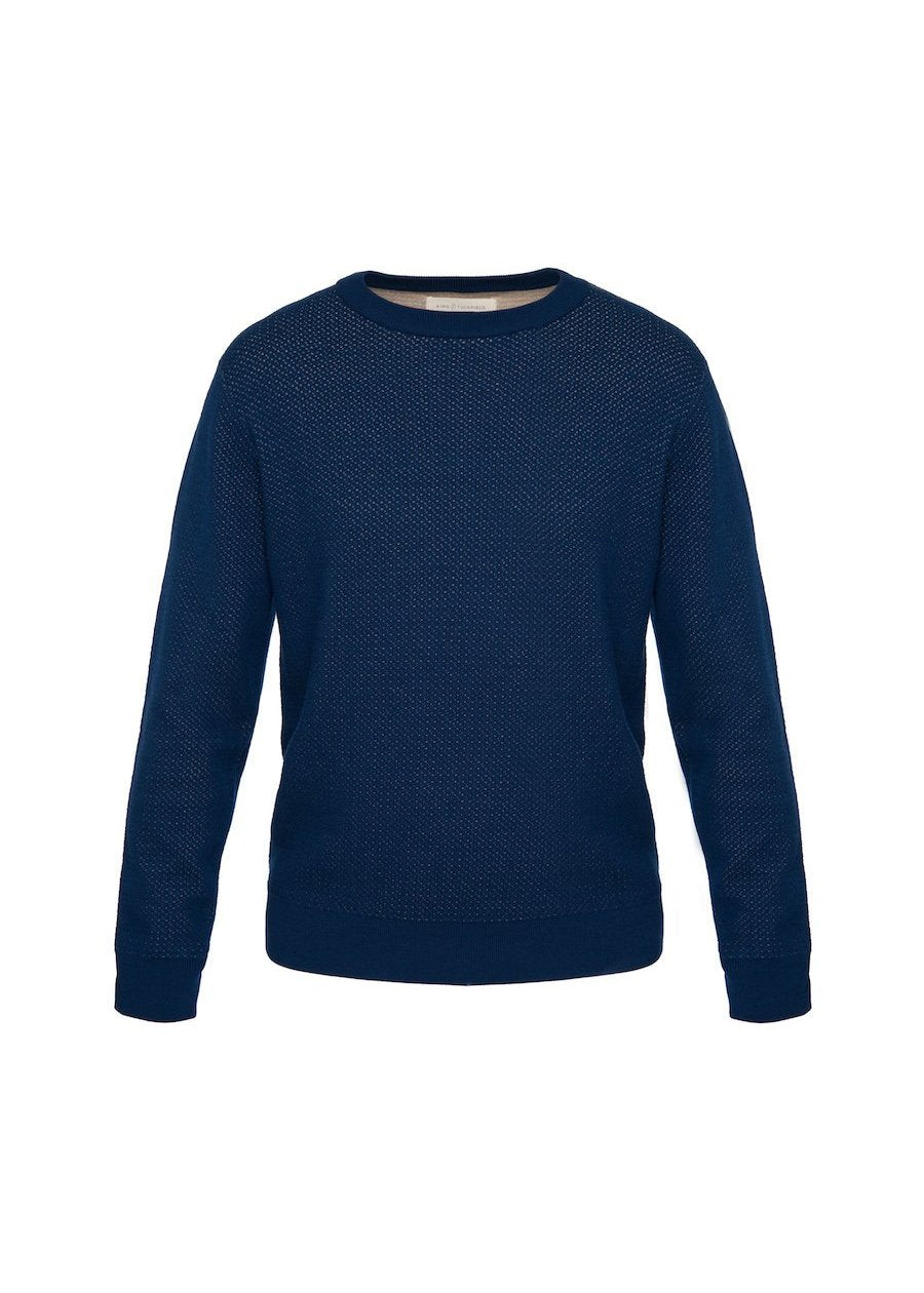 Navy / Sesame Crew Neck Knit - King & Tuckfield