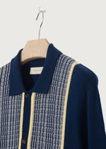 Navy Knitted Patterned Shirt - King & Tuckfield