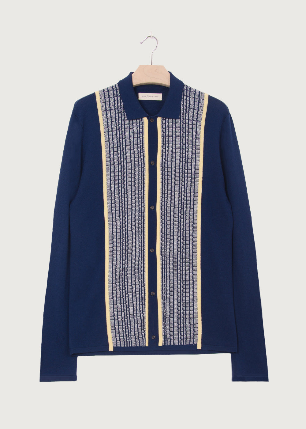 Navy Knitted Patterned Shirt