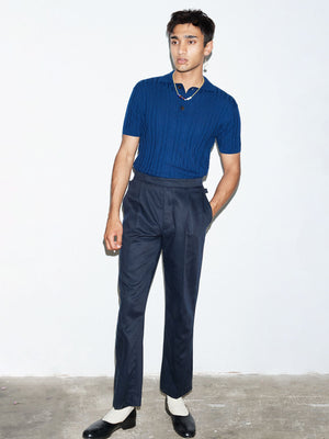 NAVY PLEAT TROUSER - King & Tuckfield