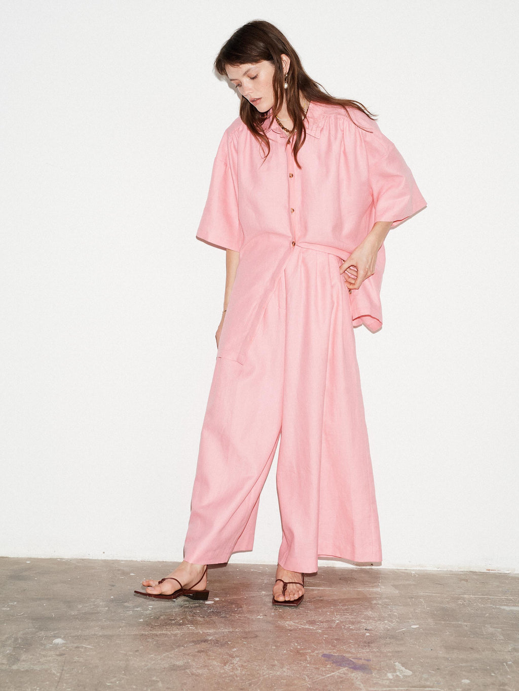 WATERMELON GATHERED OVERSIZED SHIRT - King & Tuckfield