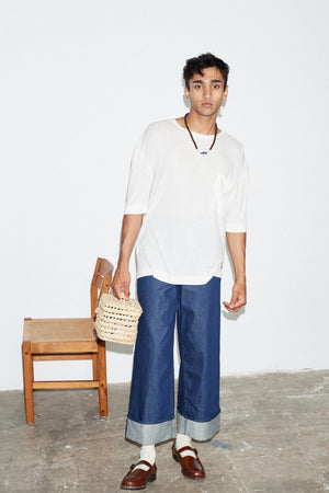 NATURAL RIBBED OVERSIZED POCKET T-SHIRT