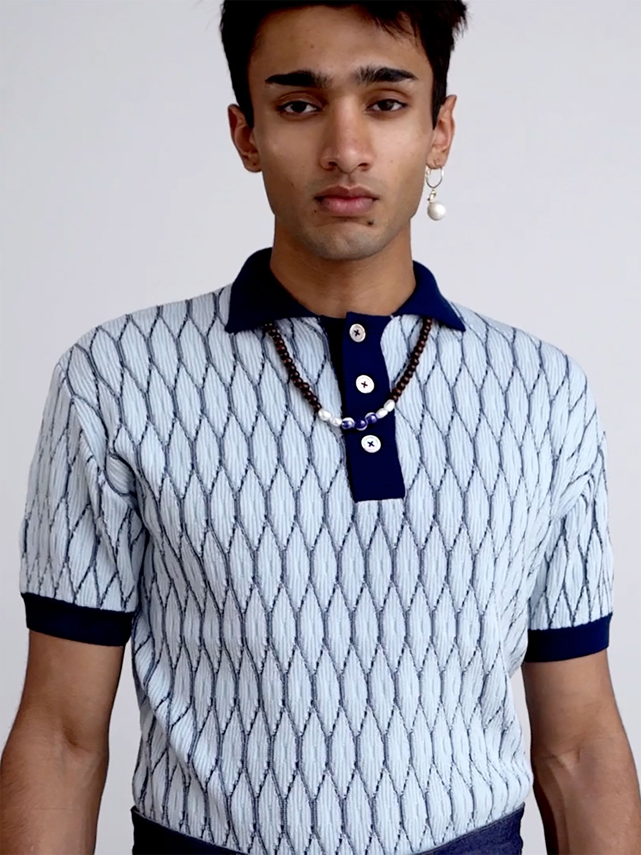 SKY BLUE/ NAVY MERINO SHORT SLEEVE TEXTURED POLO