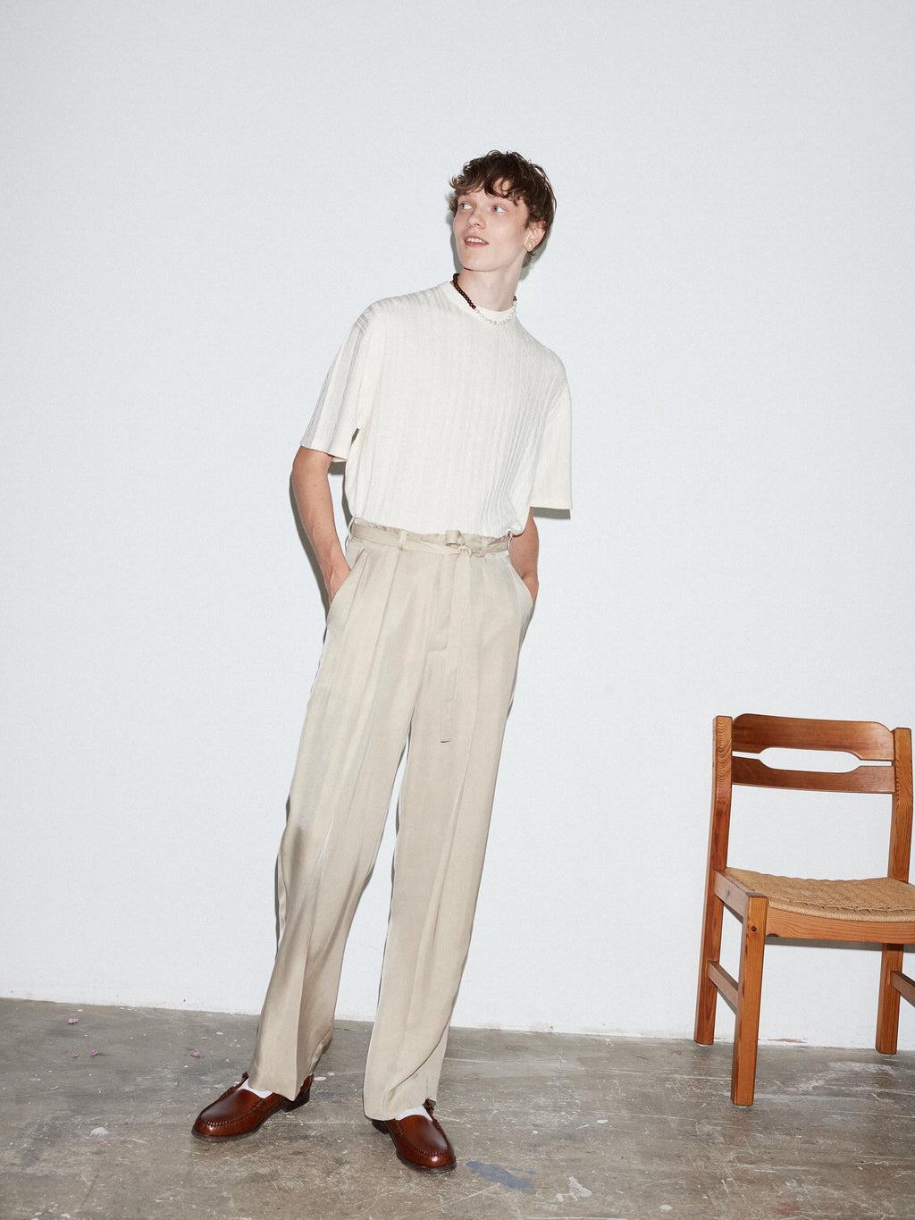 TAUPE BELTED GRANT TROUSER