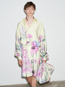 LEMON FLORAL PLEATED SLEEVE OVERSIZED SHIRT
