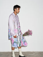LILAC FLORAL PLEATED SLEEVE OVERSIZED SHIRT