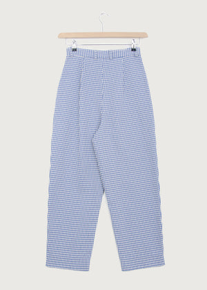 Cobalt Gingham Balloon Trouser - King & Tuckfield