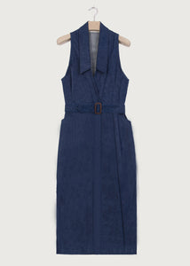 Indigo Denim Halter Wrap Dress - King & Tuckfield