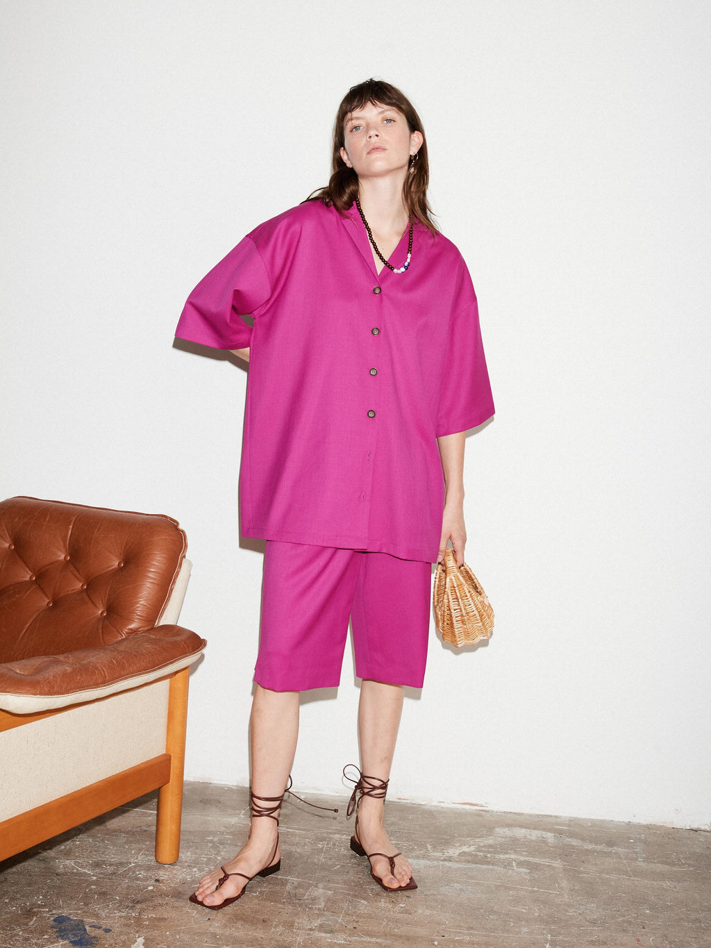 FUCHSIA CAMP COLLAR SHIRT