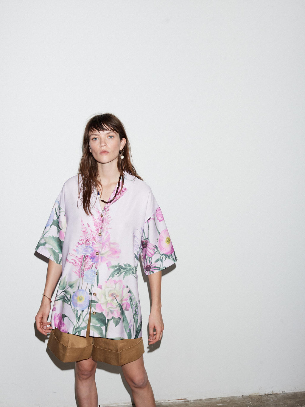 LILAC FLORAL CAMP COLLAR SHIRT